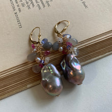 Load image into Gallery viewer, AAA Dark Silver Baroque Pearls & Gemstones 14kgf Earrings