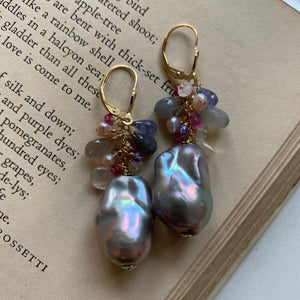 AAA Dark Silver Baroque Pearls & Gemstones 14kgf Earrings