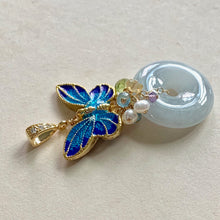 Load image into Gallery viewer, Butterfly Cloisonne, Jade & Gemstones Pendant