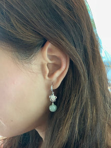 Sakura & Jade Silver Earrings