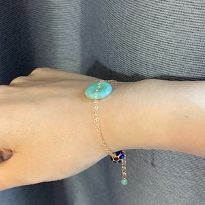 Jade & Cloisonne Lotus 14k Gold Filled Bracelet