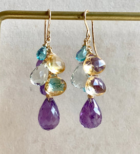 Amethyst & Gems 14k Gold Filled Earrings