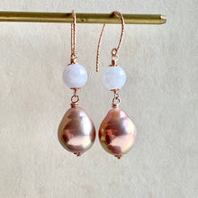 Load image into Gallery viewer, Lavender Jade, Pink Pearls on 14k Rose Gold Filled