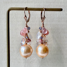 Load image into Gallery viewer, AAA Peach Edison Pearls, Pink & Orange Gems 14kRGF
