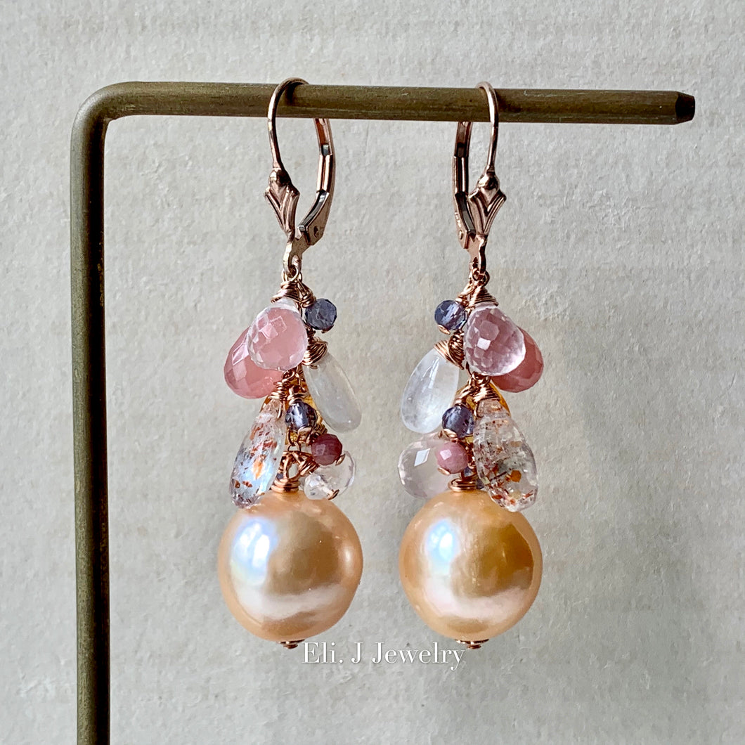 AAA Peach Edison Pearls, Pink & Orange Gems 14kRGF