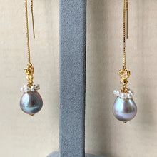 Load image into Gallery viewer, Silver Baroque Pearls, Cream Freshwater Pearls & Bees 14kGF Threaders