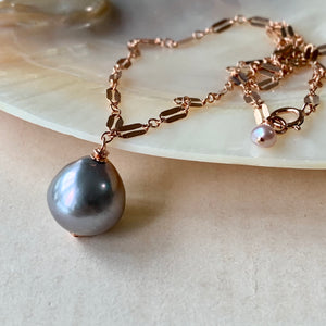 Silver Baroque Drop Pearl 14kRGF Necklace