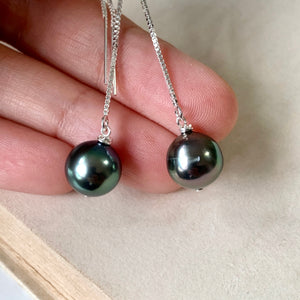 Mismatched AAA Peacock Tahitian Pearls 925 Silver Threaders