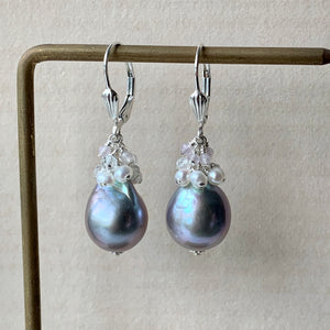 Silver Baroque Pearls & Gems 925 Silver Earrings