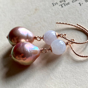 Lavender Jade, Pink Pearls on 14k Rose Gold Filled