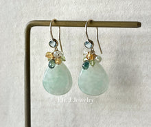 Load image into Gallery viewer, Apple Green Type A Smaller Teardrops, Teal Sapphire, Gemstones 14kGF Earrings