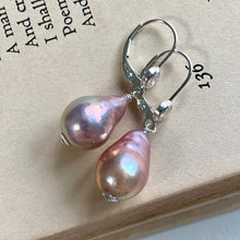 Load image into Gallery viewer, Peachy-Pink Pearls 925 Sterling Silver Leverback Earrings