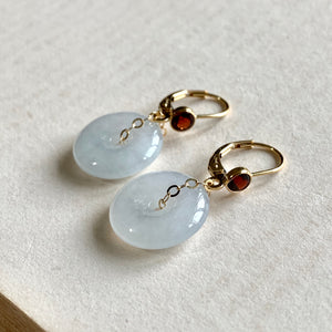 White Type A Jade Donuts, Garnet 14kGF Leverback Earrings