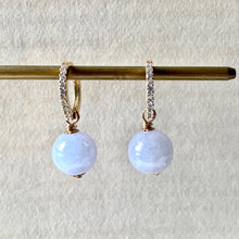 Load image into Gallery viewer, Lavender Jade on CZ Hoops