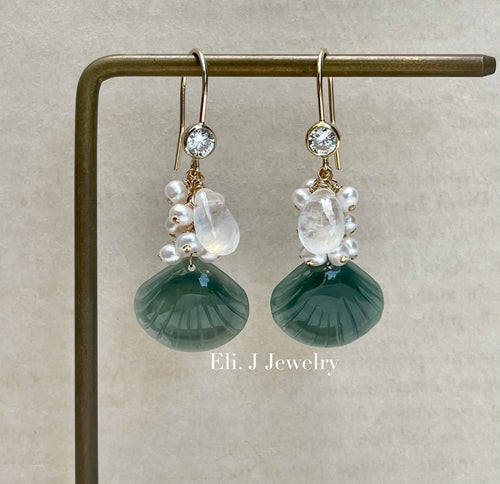 Exclusive to Eli. J: Teal Blue-Green Jade Shells, Rainbow Moonstone & Pearls Earrings
