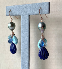 Load image into Gallery viewer, AAA Silver-Green Tahitian Pearls & Lapis Lazuli, Larimar & Blue Gems 14kRGF