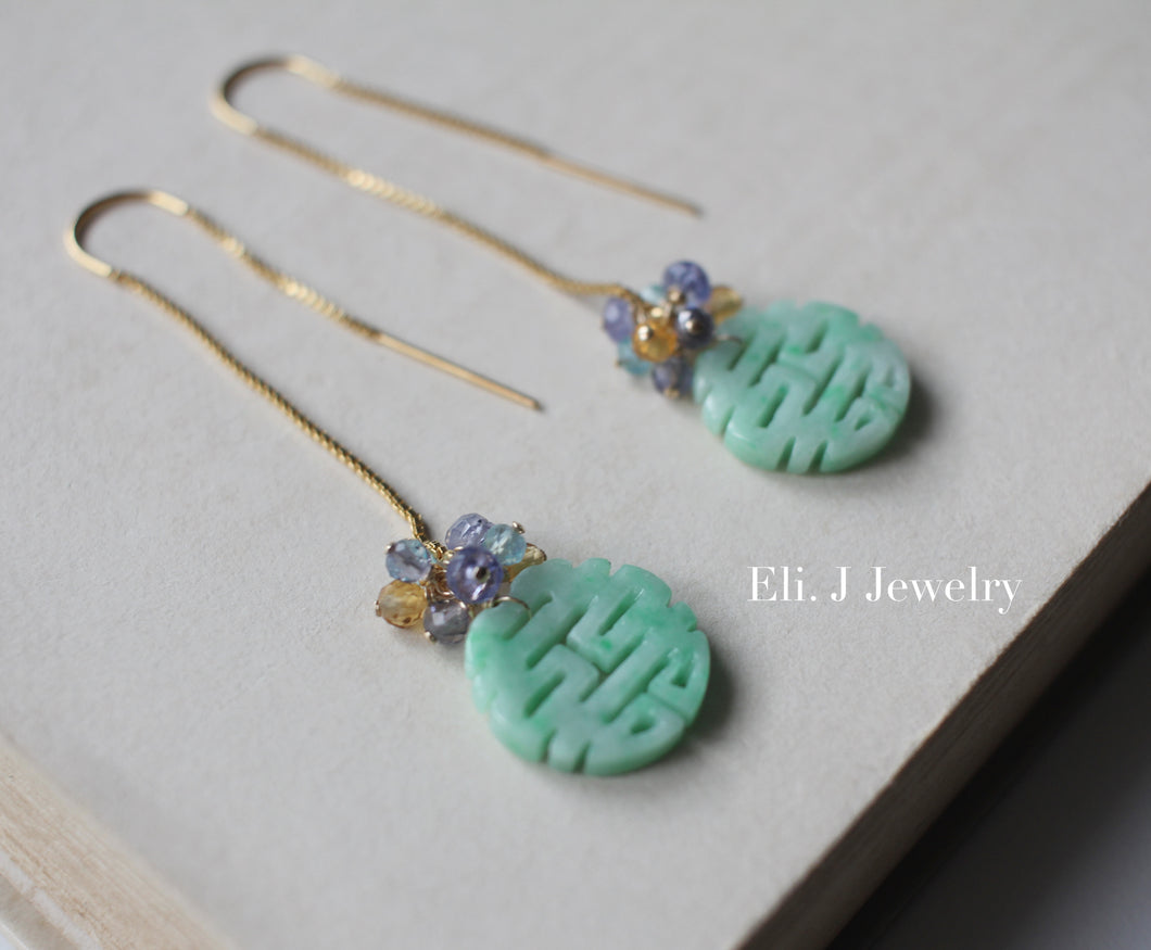 Exclusive to Eli. J: 喜喜 Double Happiness Mint Green Jade & Fresh Gemstones 14kGF Threaders