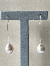 Load image into Gallery viewer, White Pearls on Long 925 Silver Hooks