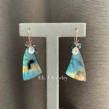 Load image into Gallery viewer, Big Bear & Old Faithful at Yellowstone- Labradorite, Sapphire 14kGF Earrings
