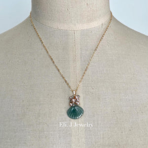 Exclusive to Eli. J: Bluish-Green Jade Shells, Pearls, Labradorite Necklace