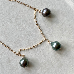 OOAK AA Circle Tahitian Pearl Trio 14kGF Necklace