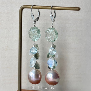 Pink Gold Edison Pearls, Moss Aquamarine, Rainbow Moonstone, Sky Blue Topaz 925 Sterling Silver Earrings