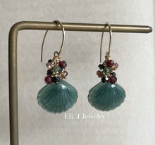 Load image into Gallery viewer, Eli. J Exclusive: Bluish-Green Jade Shells, Garnet, Spinel Earrings