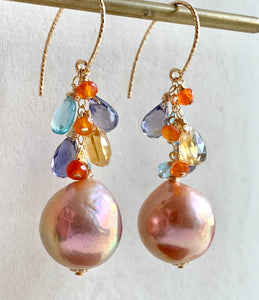 Round Peach Pearls & Gemstone Drops on Gold Filled