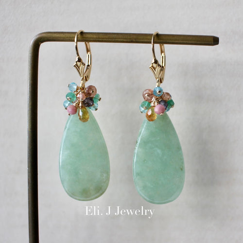 Large Apple Green (With Slight Yellow) Type A Jade, Yellow Sapphire & Rainbow Gems 14kGF Earrings