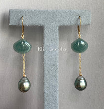 Load image into Gallery viewer, Eli. J Exclusive: Bluish-Green Type A Jade Shells, AA Tahitian Pearls Interchangeable 14kGF Earrings