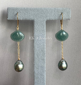 Eli. J Exclusive: Bluish-Green Type A Jade Shells, AA Tahitian Pearls Interchangeable 14kGF Earrings