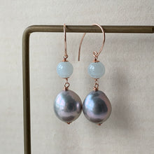 Load image into Gallery viewer, Silver Baroque Pearls & Icy Jade 14kGF/RGF Earrings