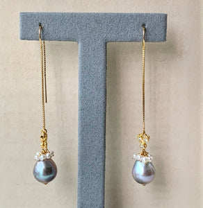 Silver Baroque Pearls, Cream Freshwater Pearls & Bees 14kGF Threaders