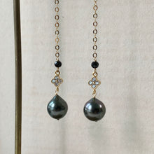 Load image into Gallery viewer, Tahitian Pearls, Spinel, Zirconia Clover Long Earrings