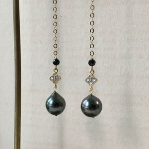 Tahitian Pearls, Spinel, Zirconia Clover Long Earrings