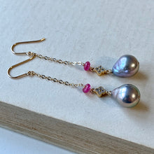 Load image into Gallery viewer, Silver Baroque, Pink Tourmaline Clover 14kGF Threader Earrings