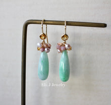 Load image into Gallery viewer, Custom-cut Type A Mint Green Jade Drops & Pink Pearls 14kGF Earrings