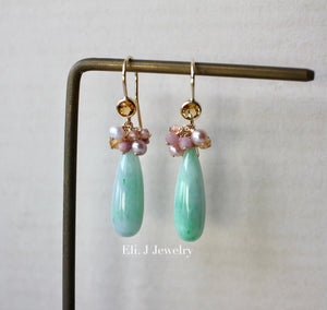 Custom-cut Type A Mint Green Jade Drops & Pink Pearls 14kGF Earrings