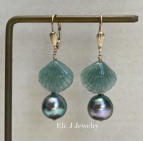 Exclusive to Eli. J: Bluish Green Jade Shells, Tahitian Pearls Earrings