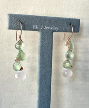Load image into Gallery viewer, Spring 1: Rose Quartz, Prehnite, Pearls 14kRGF Earrings