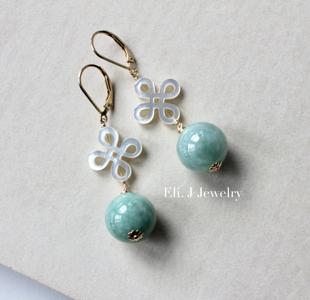 Apple Green Type A Jade Balls & Mother-of-Pearl Knots 14kGF Earrings