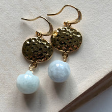 Load image into Gallery viewer, Hammered Gold & Jade Apple Earrings