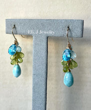 Load image into Gallery viewer, Summer 3: Larimar, Swiss Blue Topaz, Peridot 14kGF Earrings