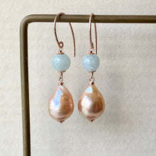 Load image into Gallery viewer, Type A Mint Green Jade & Peach Edison Pearls 14kRGF