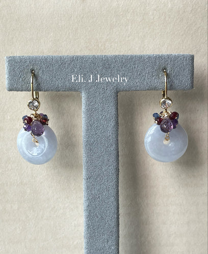 Bluish Lavender Type A Jade Donuts, Pink Amethyst, Ruby 14kGF Earrings