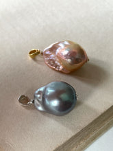 Load image into Gallery viewer, Silver & Rainbow- Peach Baroque Pearl Pendants