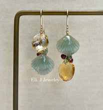 Load image into Gallery viewer, Exclusive to Eli. J: Green-Yellow Jade Shells, Citrine & Gems Earrings