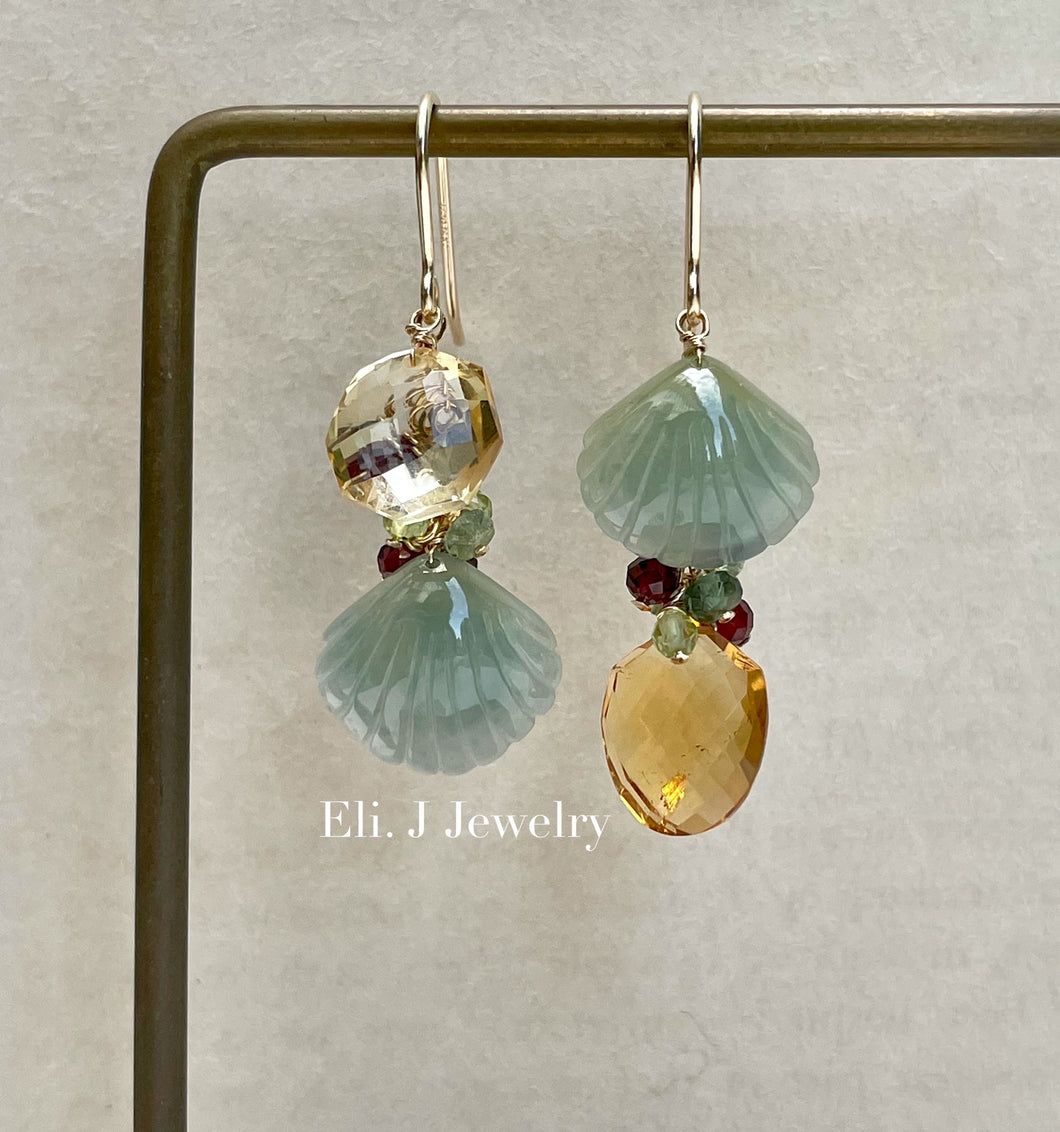 Exclusive to Eli. J: Green-Yellow Jade Shells, Citrine & Gems Earrings