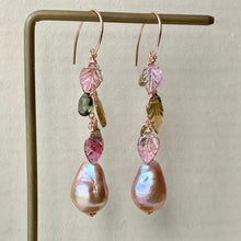 Load image into Gallery viewer, AAA Pink Edison Pearls, Watermelon Tourmaline Leaves 14kRGF Earrings
