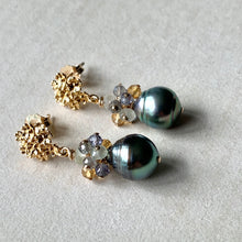 Load image into Gallery viewer, Blue-Green Tahitian Circle Pearls & Gemstones